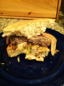 A Fred original Focaccia and meatloaf sandwich